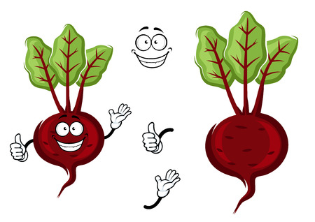 tuber: Happy little cartoon beetroot with fresh green leaves and waving arms, isolated on white