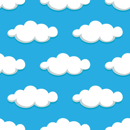 white clouds: Seamless pattern of cartoon white clouds on summer blue sky background, for nature or weather themes Illustration