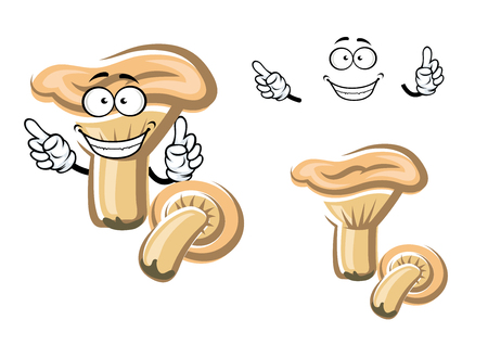 edible mushroom: Funny cartoon white edible mushroom character isolated on white. For food and cuisine theme design