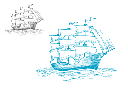 Three masted old wooden schooner or tall ship under full sail on the ocean, sketch image Illustration