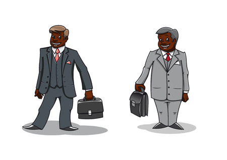 well dressed: Cartoon well dressed dark-skinned businessmen carrying briefcases. For office team theme design