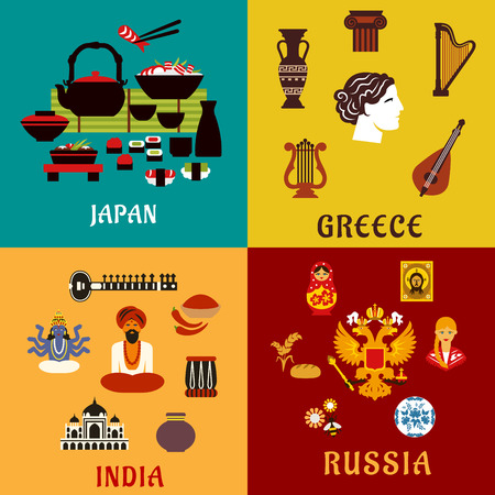 india culture: National culture, religion and cuisine of Japan, Russia, India and Greece flat icons showing ancient architecture, musical instruments, religious symbols, crafts and cuisine