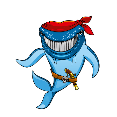 pirating: Smiling blue whale pirate cartoon character wearing in red bandanna and belt with jolly roger buckle and pistol, for mascot or childish design