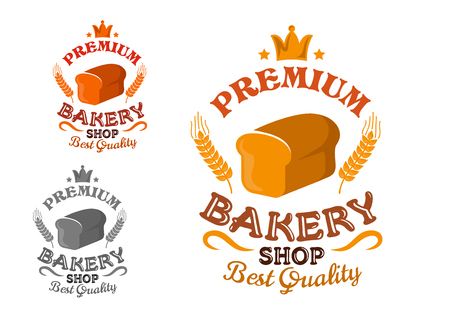 cartoon board: Bakery shop premium emblem with bread loaf, decorated by wheat ears, stars and crown