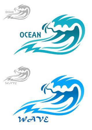 olas de mar: Encrespa Cresting ola azul océano en dos tonos diferentes de azul con el texto del océano o de la onda con variantes de color gris para ambos, aislado en blanco Vectores