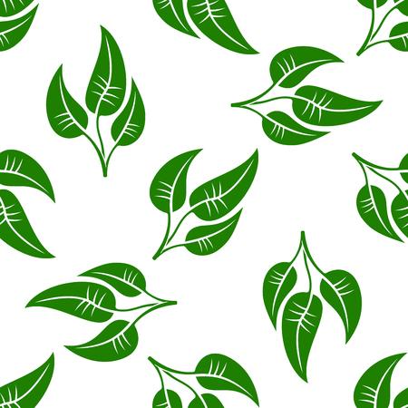 medio ambiente: Patrón transparente de simples hojas verdes sobre fondo blanco. Para temas textil, del interior o el medio ambiente