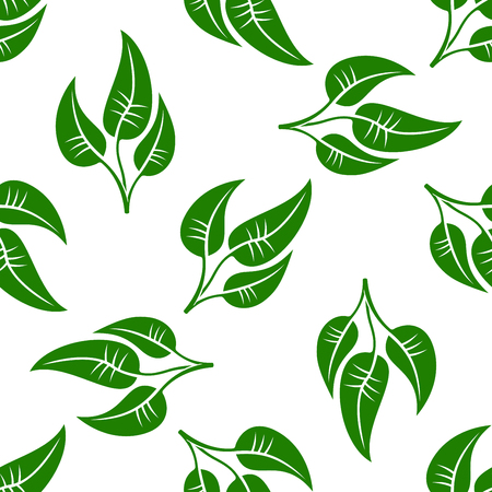 the environment: Seamless pattern of simple green leaves on white background. For textile, interior or environment themes