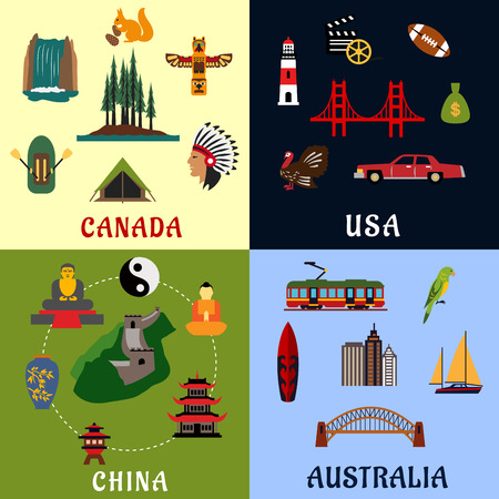 great wall: Nature, religion, culture, architecture flat icons of USA, Canada, China and Australia. For travel theme design Illustration