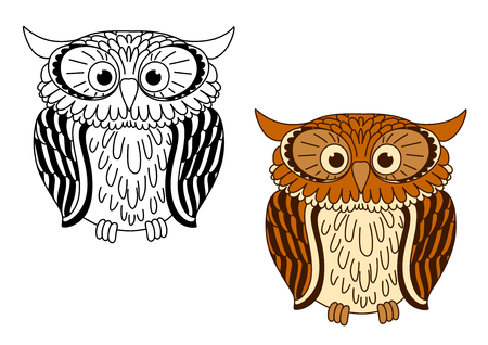 brown eyes: Brown and colorless cartoon owl birds with big eyes, for fairytales or mascot design Illustration
