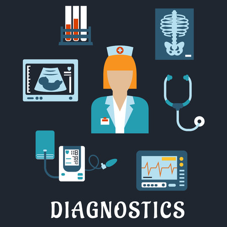 medicine chest: Medical diagnostic procedures flat icons with doctor, surrounded by stethoscope, chest x-ray, blood test tubes, ecg and ultrasound monitors, blood pressure cuff