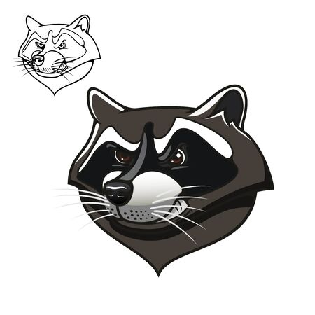 bared: Angry cartoon gray raccoon with bared teeth, including outline variant in upper corner, for sports mascot or tattoo design