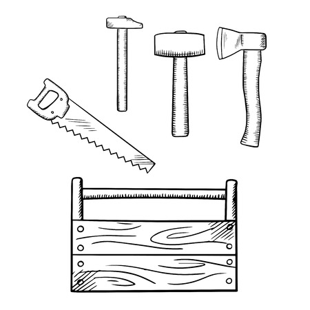 herramientas carpinteria: Handmade wooden toolbox with hammers, axe and hand saw, for carpentry tools design, sketch icons Vectores