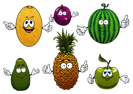 manzana caricatura: Personajes de dibujos animados de frutas maduras jugosas de melón, sandía, aguacate, manzana, ciruela y piña. Aislado en blanco