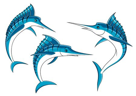 marline: Ocean blue marlin fishes with shiny curved bodies and long bills, for fishing sport emblem or seafood design Illustration