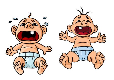 bebe sentado: Cartoon llorando beb�s con la boca abierta de ancho y l�grima cae en torno a uno de ellos, por concepto tem�tico infantil