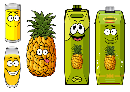 pineapple juice: Cartoon pineapple juice packs with fresh pineapple fruit, and glasses with sweet yellow drinks, for food pack design