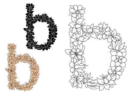 lower case: Black, brown and colorless lower case Letter B with floral elements