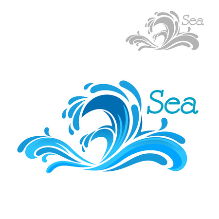Cartoon blue sea wave splash on white background, for nature or water themes design