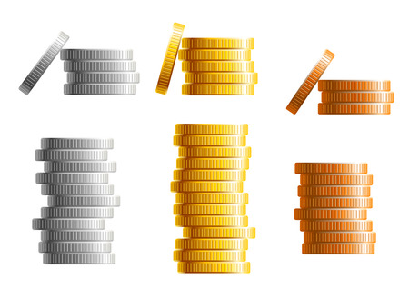 Stacks of gold, silver and bronze coins in different heights with gold the tallest in two different variants with a leaning coin on the side,vector illustration isolated on white