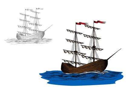 furled: Vintage wooden two-masted sailing ship with furled sails on a blue sea, sketch style