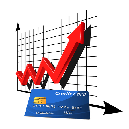 bank rate: Bank credit card in front of financial graph with red arrow of rising rate, for finance or banking themes