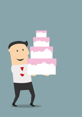 cake with icing: Businessman carrying a multi-tiered birthday or wedding cake with pink icing, cartoon flat image Illustration