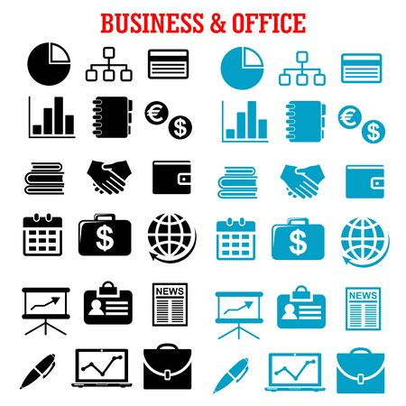 news background: Business, finance and office flat icons with black and blue silhouettes of financial reports, money, handshake, chart, briefcases, laptop, news, globe, calendar, pen and organizer Illustration