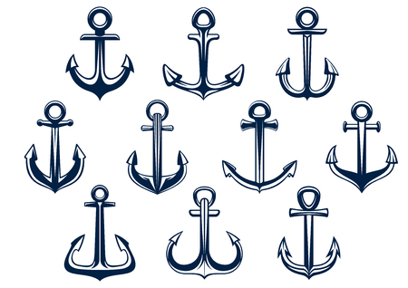 cruise ship: Heraldic set of marine ships anchors in different shapes for nautical and marine themes design elements Illustration