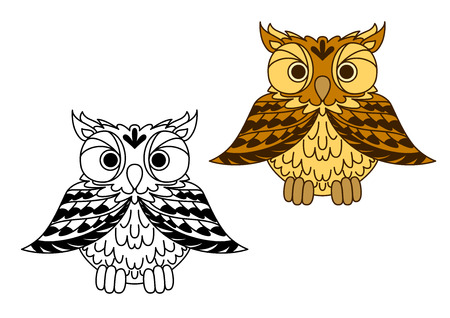 outspread: Cute little cartoon owl with outspread wings in a black and white and colored variation