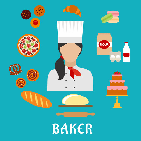 dough: Baker profession flat icons with baker in chef hat, encircled by pizza, cupcakes, cake, macarons, croissant, long loaf of bread, cinnamon rolls, pretzel, dough with rolling pin, flour, eggs and milk