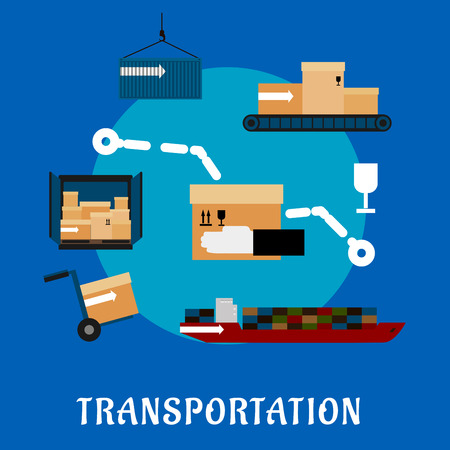 ship parcel: Shipping and logistics flat icons with cargo ship, containers, hand truck and conveyor belt with delivery boxes