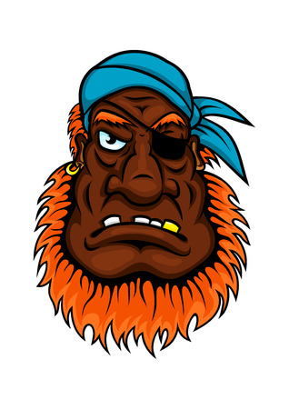 eyed: Grim evil looking one eyed pirate with a bushy red beard wearing a bandanna, cartoon style