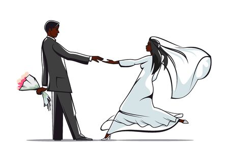 joining: African american bride and groom in elegant wedding outfits joining hands. For marriage or wedding themes design