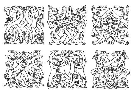 Ingewikkelde verstrengeld mystieke honden of wolven in het algemeen vierkant formaat in een zwart-wit overzicht patronen,