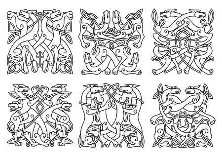 Intricate entwined mystical dogs or wolves in overall square format in a black and white outline patterns,