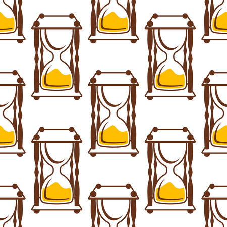 timeout: Timeout hourglasses seamless pattern with empty upper bulbs on white background Illustration