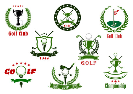 Golf club and tournament sport icons in red and green colors with game items Ilustração