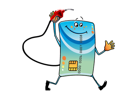 refuel: Cartoon bank credit card character with gasoline pump nozzle in hand, ready to refuel your car, for debt or finance theme