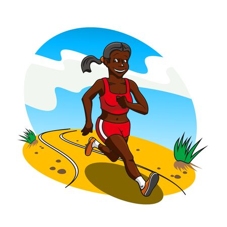 athlete cartoon: Young african woman cross country runner running along a sandy road with a smile