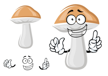 cep: Cute cartoon cep or boletus mushroom character with a happy smile, isolated on white Illustration