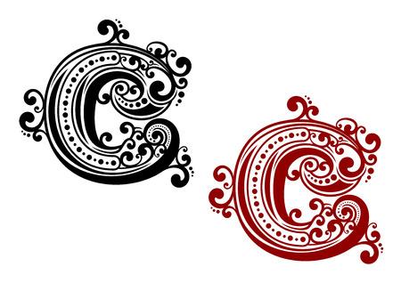 letras negras: Vintage letra C mayúscula victoriana con el ornamento caligráfico estilizada y elementos rizados para las letras o el diseño de la fuente Vectores