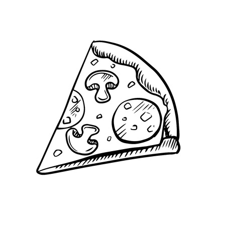 pepperoni pizza: Black and white slice of pepperoni pizza with mushrooms, high angle view, sketch icon Illustration