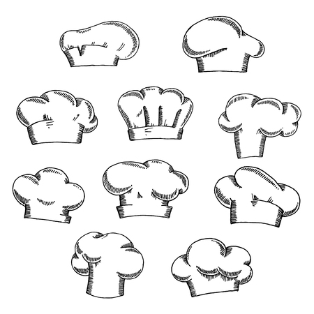 toque: Traditional chef or baker hats and toques sketch icons with stylish draperies, for restaurant or bakery themes