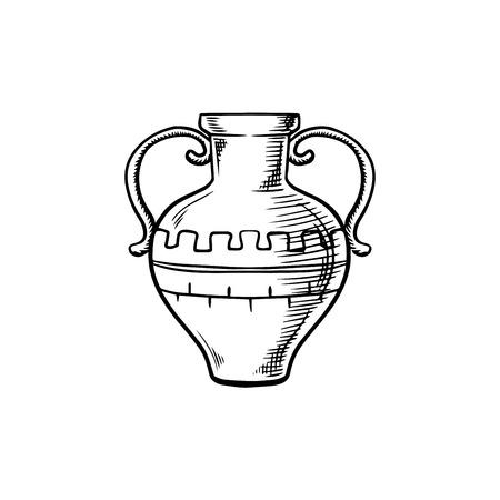 흰색에 고립 된 두 처리 스케치는 고대의 amphora을 처리