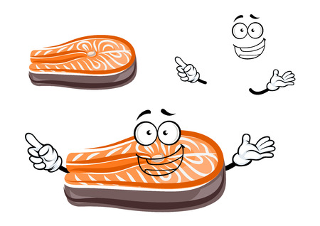 cooked fish: Funny cartoon salmon fish slice with happy face, for seafood theme Illustration