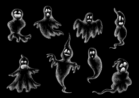poltergeist: Halloween flying ghost sketches in chalk on a blackboard with outline shapes and expressions