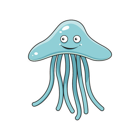swimming underwater: Blue jellyfish cartoon character with long tentacles and shy smile,  for underwater wildlife or mascot themes design