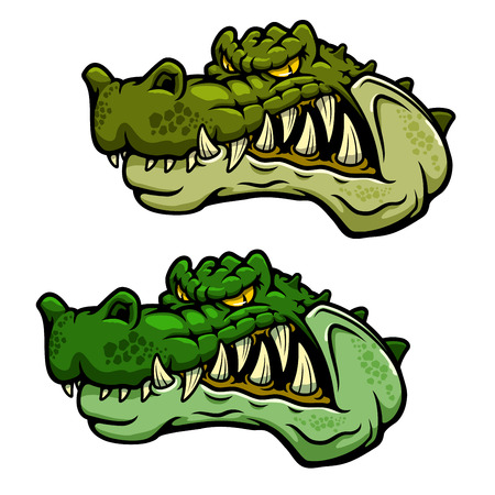 bared teeth: Angry crocodile character head with bared teeth and rugged armored green skin, for sporting mascot or tattoo design Illustration