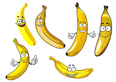 banane: Drôle de bande dessinée jaune banane fruits caractères isolé sur fond blanc Illustration