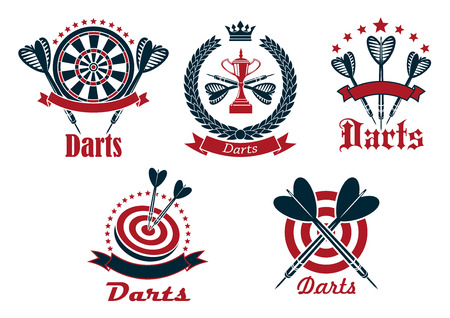 sports winner: Dart game tournament icons and symbols with arrows, dartboard, banners and other decorations Illustration